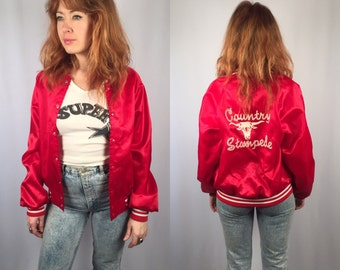 Country Stampede vintage red satin jacket Size SMALL