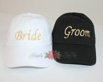 Bride and Groom Baseball Cap, Wedding Ball Caps, Gifts Under 30 Dollars
