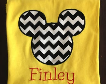 Personalized  Chevron Mouse Shirt, Romper, Dress or Onesie