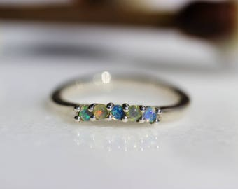 SAMPLE SALE Ondine Ring Suite in Sterling and Welo Opal, Ready to Ship in Size 5.75