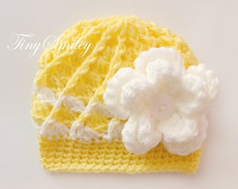Yellow Baby Girl Hat, Newborn Baby Girl Hat, Yellow Newborn Girl Hat, Baby Girl Outfit, Newborn Hospital Girl Hat, Take Home Outfit