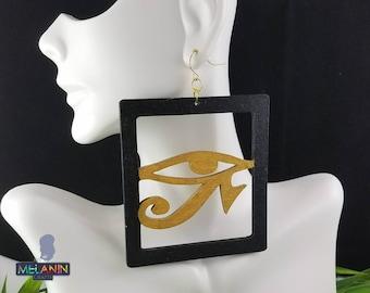 Horus Eye- Handmade Wooden Earrings