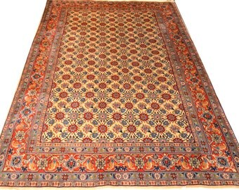 Amazing Vintage Varamin Allover Floral Beige Color 7x10 Pure Wool Persian Rug handwoven