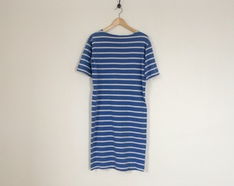 French Mariniere striped cotton dress blue & white vintage