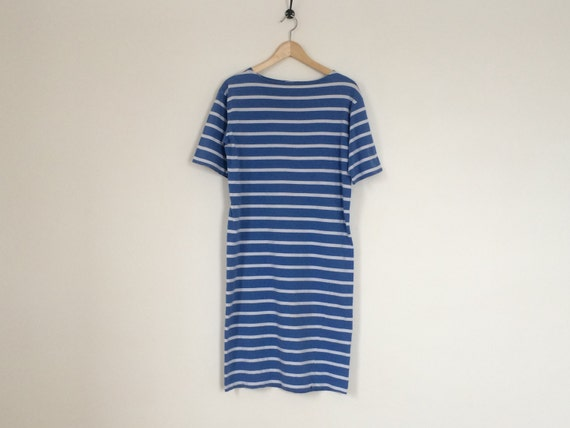 French Mariniere striped cotton dress blue & white vintage