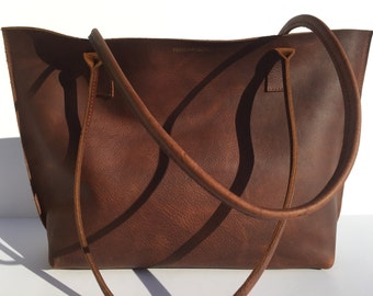 SALE! Medium Dark Brown Premium Leather Tote