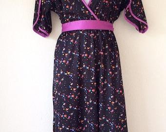 Vintage Purple Black Kimono Style Dress