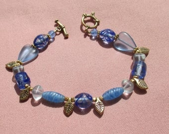 Retro Blue Lampwork Beaded Metal Leaf Bracelet Toggle Clasp