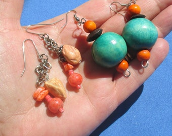 Lot Of Retro Orange Blue Beaded Pierced Dangling Earrings