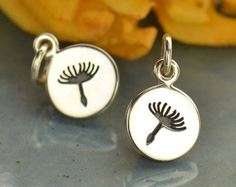 Sterling Silver Small Dandelion Charm -Bridesmaids -mother -daughter -friends -best friends
