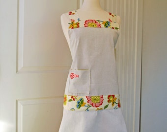 Women's Full Apron Linen Canvas Floral – Monogrammed Personalized -- Adjustable