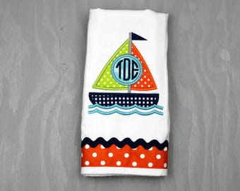 Personalized Burp Cloth - Monogrammed Burp Cloth - Personalized Boy Burp Cloth - Baby Burp Cloth - Boy Burp Cloth - Baby Gift - Sailboat