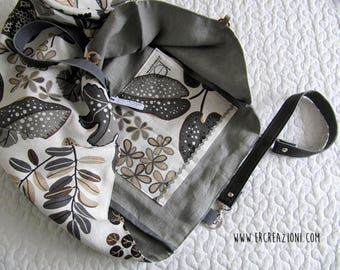 Bag of linen fabric with a floral design in gray - summer bag.