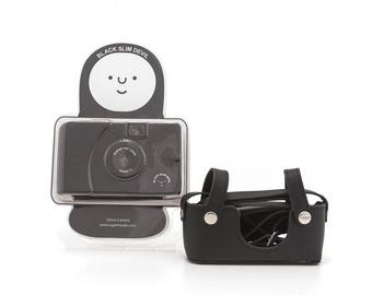 SUPERHEADZ 35mm Film Camera - Wide Lens Camera Series - Plastic Toy Camera - Black Slim Devil with black Leather case