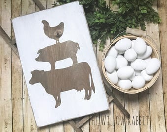 Farmhouse Animals Rustic Kitchen Farmhouse Kitchen Farmhouse Decor Farm Animals Wood Sign