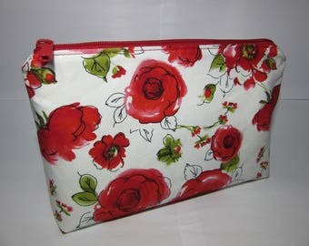 SALE Cosmetics Pouch Bag Make Up Toiletry Cotton Zip Top YKK Zip Floral Poppies Roses