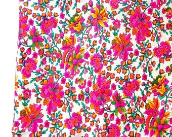 SALE Pink floral  fabric, Indian cotton, dress fabric , DIY, sewing, quilting, half yard, dress material, Inian fabric, SALE