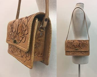 Vintage 1950s Western Purse / Tooled leather Handbag