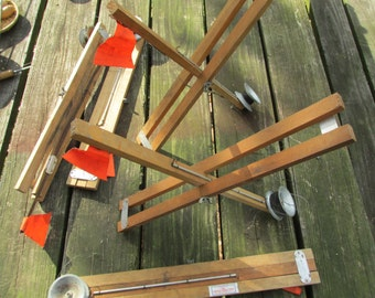 5 Vintage 1950s Arnold Tackle Corp. Ice Fishing Tip-Ups Wood and Metal Primitive