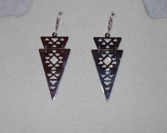 Silver Aztec inspired earrings