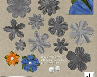 Digital Flowers - Flower Clip Art - Digital Scrapbooking Flowers - Digital Flower Embellishments - Paper Flowers - Instant Download - CU OK