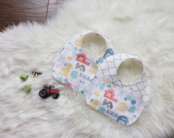 Farm Baby Boy Bib - Boy's Bib - Farmyard - Drooling Bib - Infant Bib - Early Feeding Bib - Neutral Baby Gift - Made 4U Handmade Designs