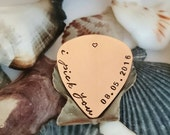 i pick you - Hand stamped guitar pick - Personalised Guitar Pick with a date - Available in copper, brass or steel - Choose your words
