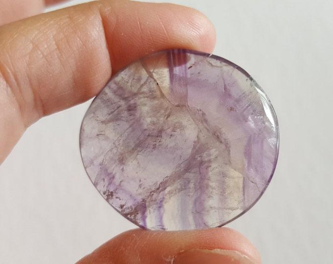 Sm Rainbow Fluorite Palm Stone, Chakra Stone, Worry Stone, Fidget Stone ~ 1 Reiki infused polished flat stone approx 1.4x1.4 inch (FLW64)