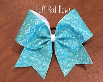 Cheer Bow -   Teal Lace