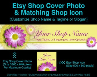 Etsy Cover Photo Etsy Shop Cover Shop Banner Etsy Shop Icon Cover Banner Cover Design Premade Banner Set Store Graphics Digital Files Daisy