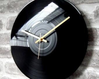 "Vinyl Record Wall Clock 12"" - Plain Black Gloss Stencil Handmade"