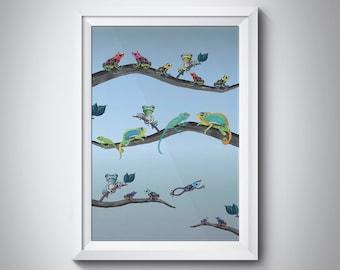 Animal art print - Frogs art print - chameleon on branch - Frog illustrations - Jungle art- lizard art  - A4 size frogs art FREE SHIPPING UK