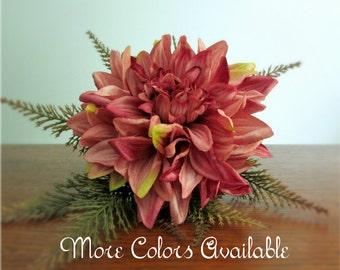 "Single Stem Silk Dahlia Bouquet, Bridal, Bridesmaid, Burnt Orange, Brown, Coral, Burgundy, Turquoise, Gold, Purple, Rose, Green, ""Austen"""