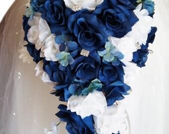 Cascade Wedding Bouquet: Light Navy Blue and White Artificial Flowers