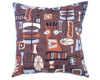 "Kaufman Boomerang Beat tiki barkcloth repro - Mid-century Modern design accent pillow 17"" x 17"" feather/down insert included"