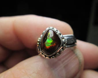 Sterling Silver Ring, Fire Agate gemstone, size 8... by TonyL
