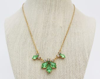 Green Rhinestone Necklace - Vintage 1950s Delicate Gold Rhinestone Navette Necklace