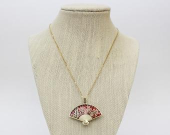 Japanese Fan Necklace - Vintage 1960s Cloisonne Enamel Fan Pendant