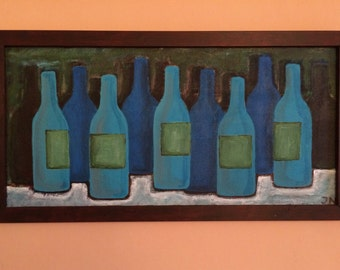 Bottles 43 x 83 cm acrylic paint on wood