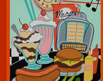 Canvas Print Mid Century Modern Eames Retro from Original Painting Diner Food