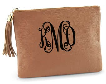 Monogrammed Cary All Case - Tan Leather