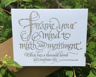 Shakespeare Quotation Card in Letterpress Calligraphy