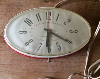 Vintage Red General Electric Oval Wall Clock