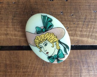 Vintage 1970's Lady French Serigraphy Brooch