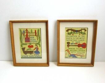 Vintage Framed Robert Darr Wert Hand Printed Linen Country Folk Art / Daniel Webster Cultivation / Proverb Men Make Houses / Set of 2