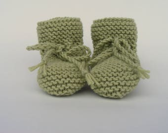 Hand Knitted Baby Booties, Baby Shower Gift, Avocado Green Baby Shoes, Garter Stitch Baby Knits, Sizes 0-3, 3-6, 6-12 months, Willow Booties