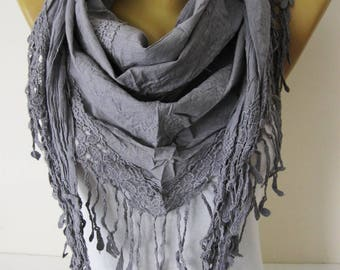 Grey scarf-Fashion Scarves-Trend Scarf ,gift Ideas For Her Women's Scarves- gift- for her -Fashion accessories-Shawls