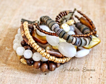 VIOLA bracelet boho 10-row shades of brown glass beads jade Pearl