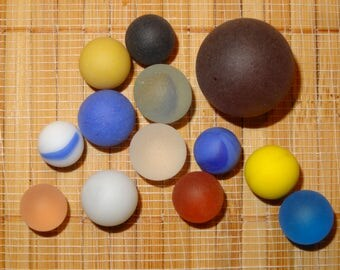 Lot of 13 Beach Glass-Like Vintage Marbles / Frosted Marbles / Game Marbles / Glass Marbles / Craft Marbles / Toy Marbles / Lot #247
