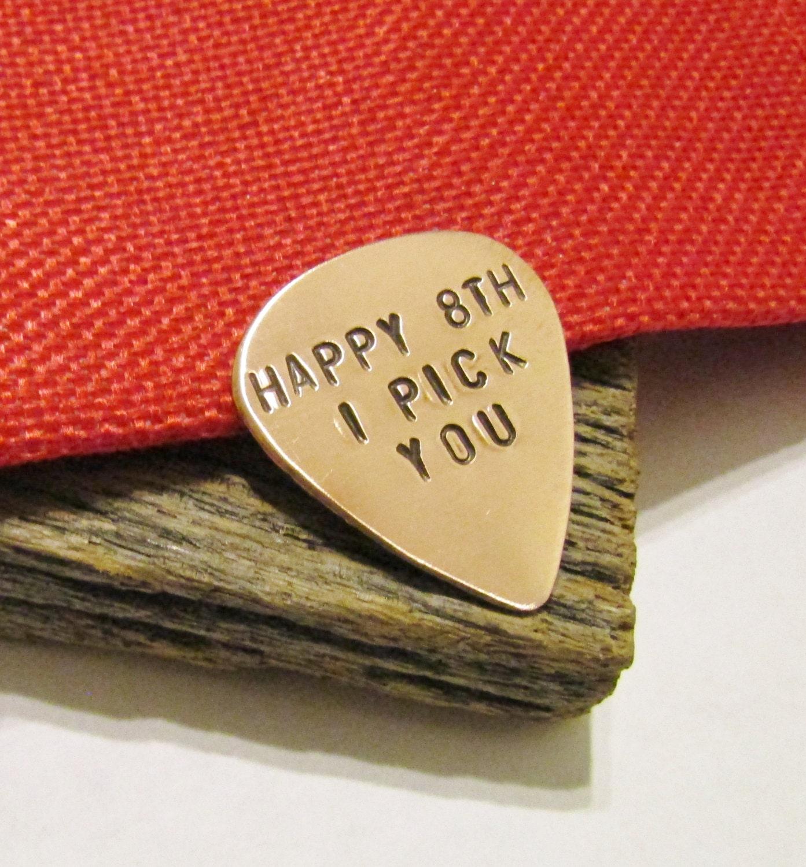8th Anniversary Guitar Pick Bronze Guitar Pick Boyfriend Gift